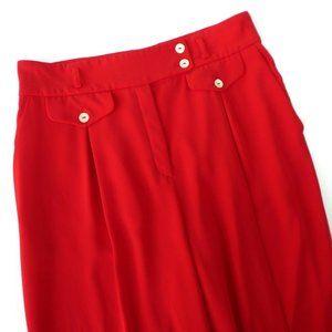 Mondi Vintage 80s Pants Red High Pleats Pockets